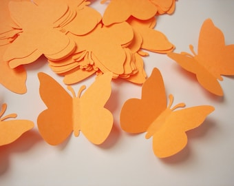 50 Bright Orange Butterfly Punch Die Cut Cutout Scrapbooking Embellishments - No580