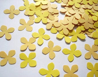100 Mixed yellow hydrangea petals punch die cut confetti cutout scrapbooking embellishments - No810