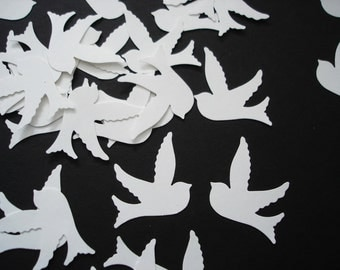100 White Birds in Flight Confetti, Wedding Party Decorations, Baby Shower Confetti - No330