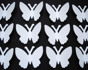 50 Wedding White Butterfly punch die cut cutout embellishment - No861