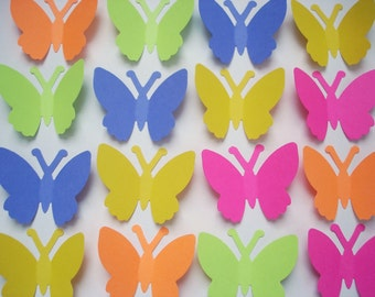 50 Large bright color butterfly punch die cut cutout scrapbooking embellishments - No862