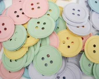 100 Pastel Button punch die cut scrapbooking embellishments - No437