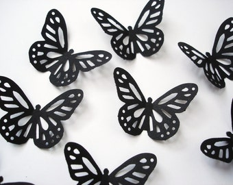 25 Black Monarch Butterfly Punch Die Cut Confetti Cutout Scrapbook Embellishments - No900