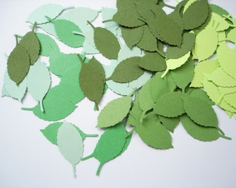 100 Mixed Green Rose Leaf punch die cut confetti cutout scrapbooking embellishments - No924