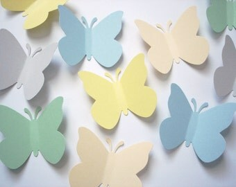 50 Large Pastel Butterfly punch die cut embellishments - No516