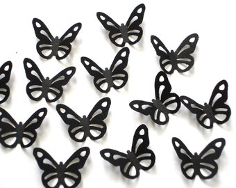 50 Small Black Butterfly die cut punch confetti scrapbooking embellishments - No730