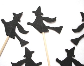 24 Halloween Black Witch Party Picks, Toothpicks, Cupcake Toppers, Food Picks - No240