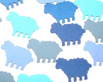 100 Mixed Blue Sheep die cut punch confetti scrapbooking embellishments,  Mary had a little lamb party decorations- No846