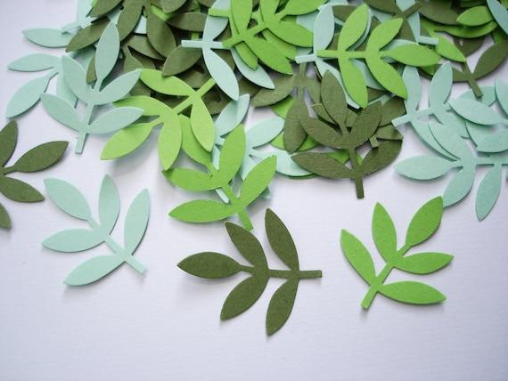 100 Mixed Green Frond Fern Leaf  punch die cut cutout confetti scrapbook embellishments - No925