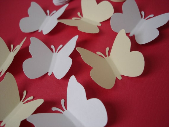 50 Large white beige butterfly punch die cut confetti cutout scrapbooking embellishments - No578