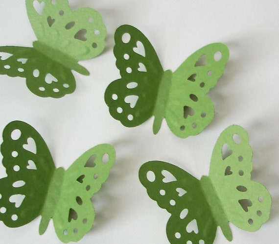 50 Green silhouette embossing butterfly punch die cut cutout scrapbooking embellishments - LB214