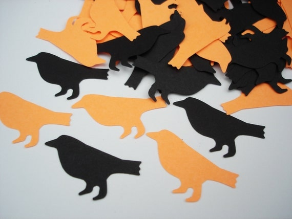 100 Black bright orange scaredy crow bird punch die cut cutout halloween scrapbooking embellishments - No174