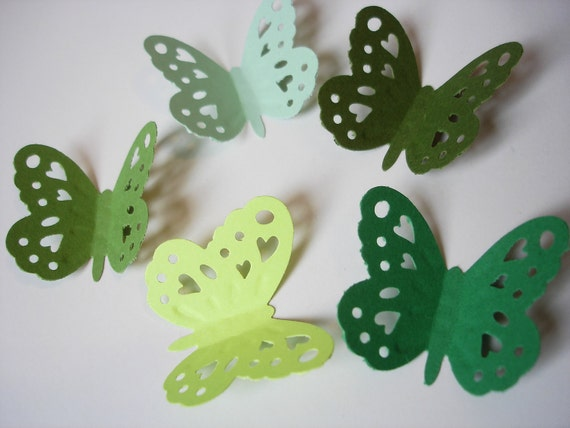 50 Large Silhouette Embossing Mixed Green Butterfly Punch Embellishments - No394