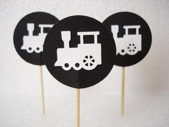 24 White Black Decorative Train Toothpicks Party Picks Food Picks Cupcake Toppers - No656