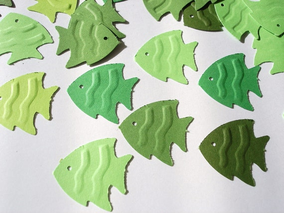 50 Embossed mixed green fish punch die cut cutout scrapbooking embellishments - No496
