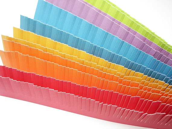 12 Mixed Color Textured Cardstock Fringe Border Strips - BS02