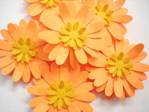 6 cosmic bright orange gerbera daisy paper flowers