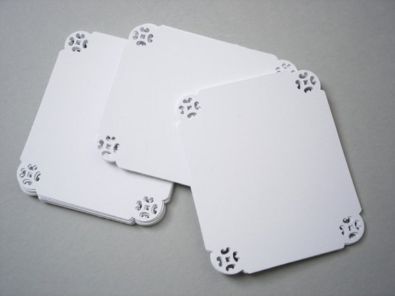 25 White Blank Bracket Cards, Scrapbooking, Journaling, Tags, Escort Cards, Embellishment, Favor Tags - No670