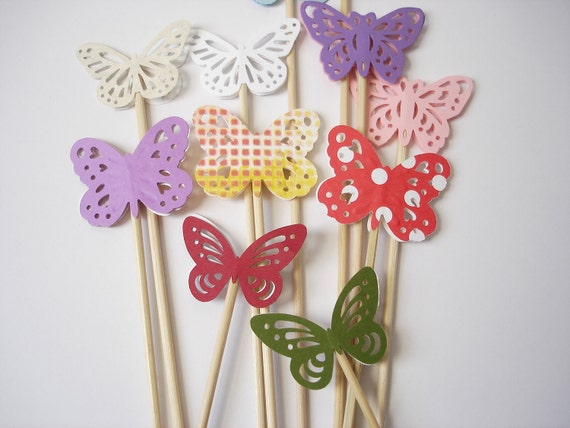 12 Decorative Mixed Butterfly Skewers - Cupcake Toppers - Party Picks - Fruit Skewers - Centerpiece Sticks - NoS8
