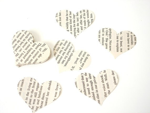 50 Vintage Book Heart punch, die cut, confetti, scrapbooking, embellishments - No603