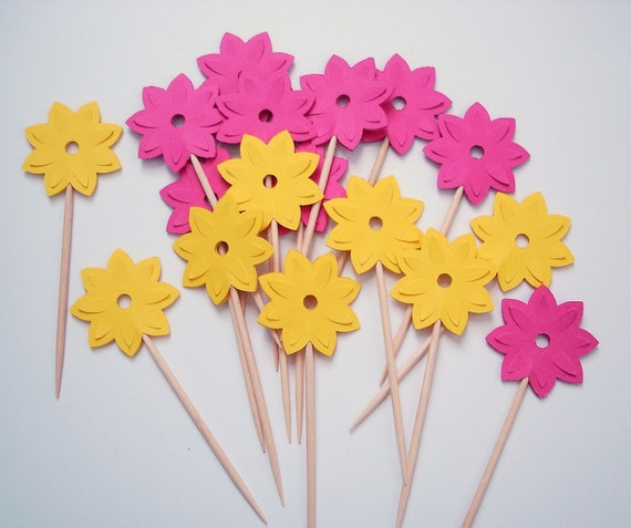 24 Decorative Bright Yellow Pink Water Lily Party Picks, Cupcake Toppers, Toothpicks, Food Picks, Drink Picks - No762