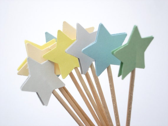 24 Mixed Pastel Yellow Blue Gray Green Ivory Star Party Picks, Cupcake Toppers, Food Picks, Toothpicks, Drink Picks - No619