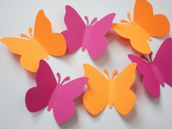 50 Large Bright Orange Pink Butterfly punch die cut embellishments - No520