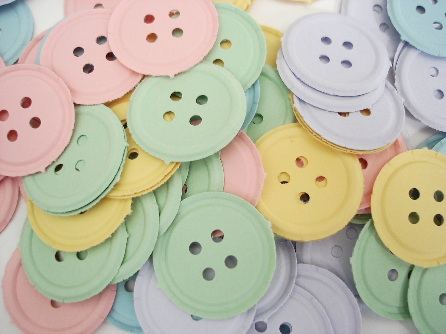 100 pastel button punch die cut scrapbooking embellishments for Decoration or embellishment crossword