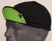Black, Charcoal and Neon Green,  Medium/Large (Hat Size 7 1/8) , Commuter Cap with Grommet and Carabiner