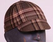 Brown Plaid Wool Cycling Cap