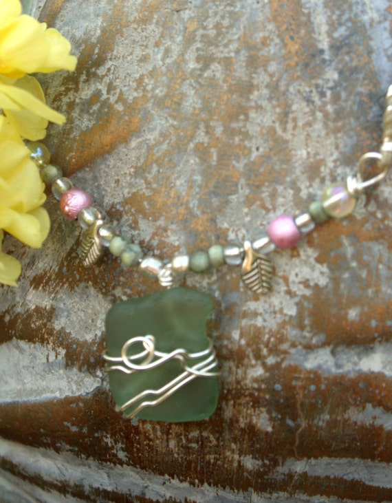 Natural Sea Glass Necklace- from Jacmel Bay,Haiti for Mother's Day