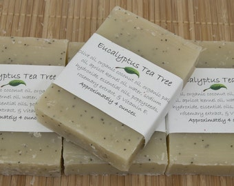 Eucalyptus Tea Tree Soap Set of Four 4 oz Bars