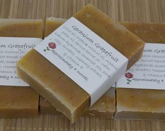 Geranium Grapefruit Soap Set of Four 4 oz Bars