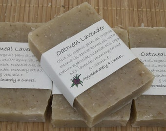 Oatmeal Lavender Soap,  Set of Four 4 oz Bars