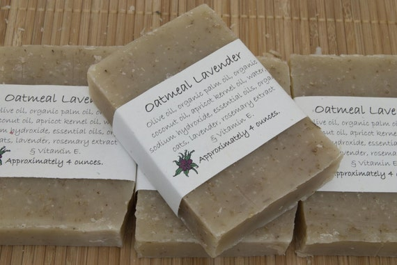 Oatmeal Lavender Soap Set of Four 4 oz Bars by aprilshowerssoaps
