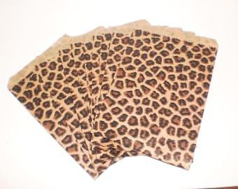 Leopard Print Paper Bags 5x7 set of 50