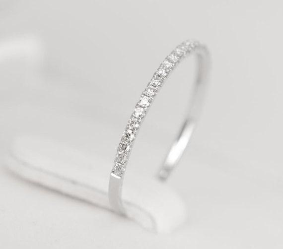 CERTIFIED - E-F, VVS - VS Diamond Wedding Band 14K White Gold - Sale