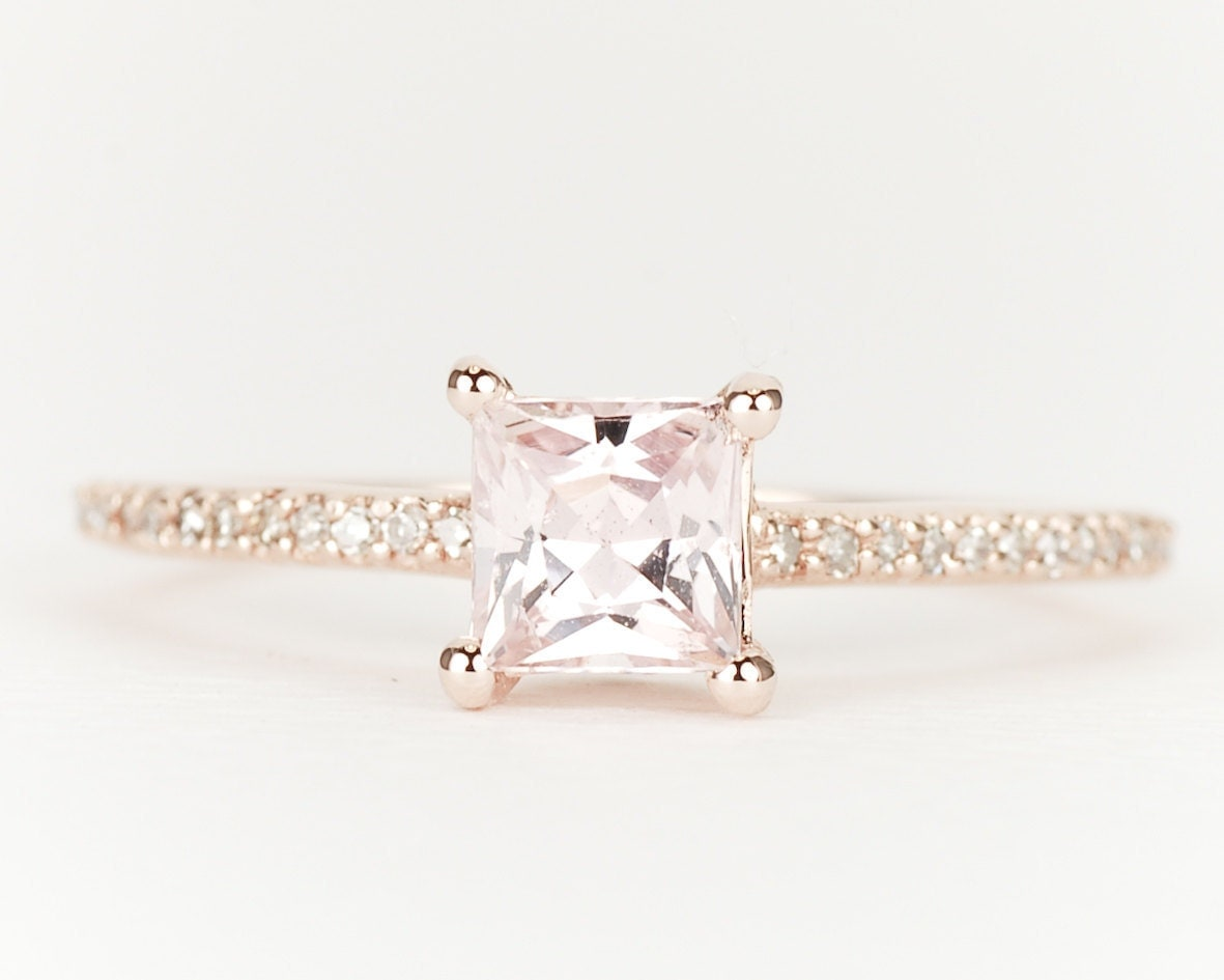 ... Peach Pink Fancy Sapphire Diamond 14K Rose Gold Engagement Ring. 🔎zoom