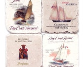 Him For Him Coasters Nautical Wine Labels