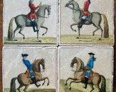 Horses, French Equestrian, 1727, Coasters