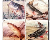 For Him, Vintage Bass & Trout Fishing Coasters