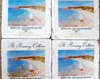 Marble Coasters, Pastel Beach Stone Coasters