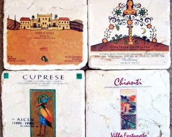 Coasters Funky Wine Labels in Stone Rustic