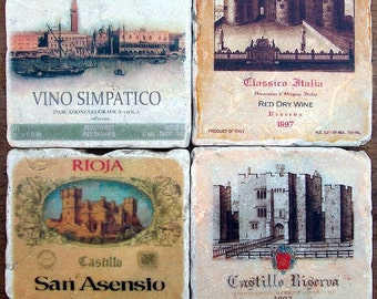 Rustic Coasters, Italian Wine Labels, Stone Coasters