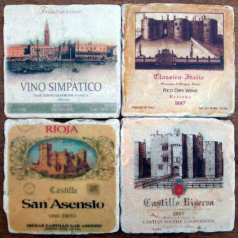 Rustic Coasters Italian Wine Labels Stone Coasters