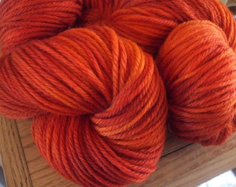 Orange Russet Bulky Weight Hand Dyed Yarn