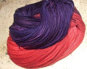 Grape Vermillion Hand Dyed Superwash Merino Wool, Nylon Sock Yarn