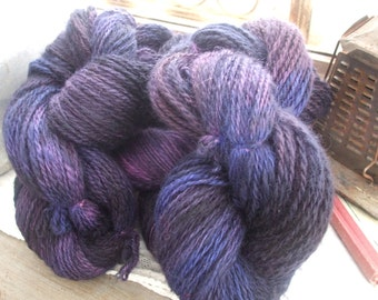 Black Violet Hand Spun Hand Dyed Romney Worsted Weight Wool Yarn