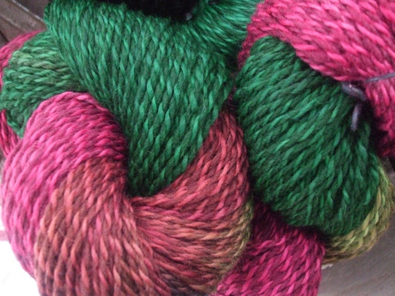 Watermelon Hand Dyed Heavy Worsted Weight Wool Yarn