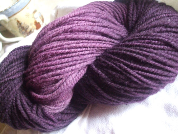 Wool Yarn - Black Violet Hand Spun Hand Dyed Heavy Worsted Weight CVM/Romeldale Wool